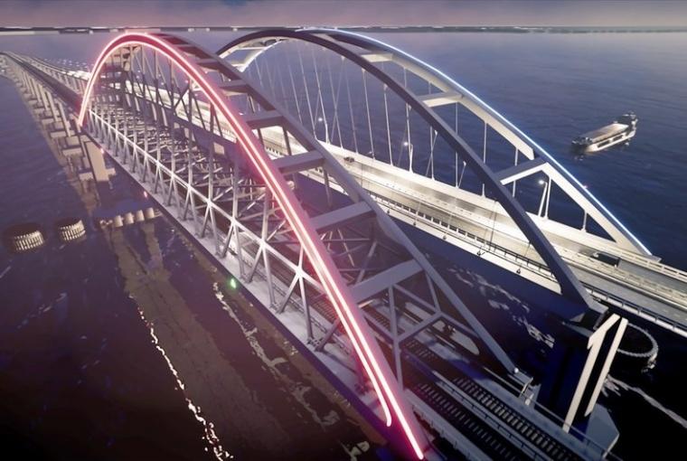 Завораживает: подсвеченные арки моста в Крым показали в 3D