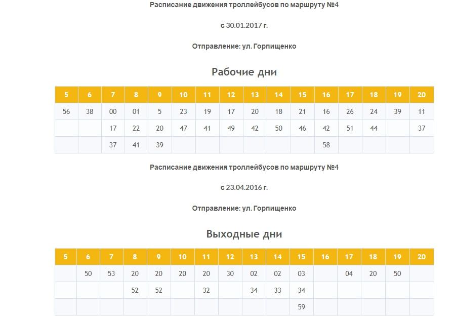 Расписание маршрута №4 – бухта Камышовая – улица Горпищенко