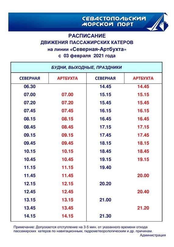 Расписание катеров Артбухта -Северная